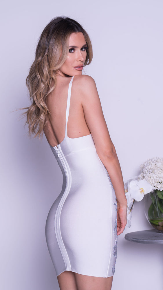 CELINE PAINTED BANDAGE DRESS IN WHITE WITH SILVER
