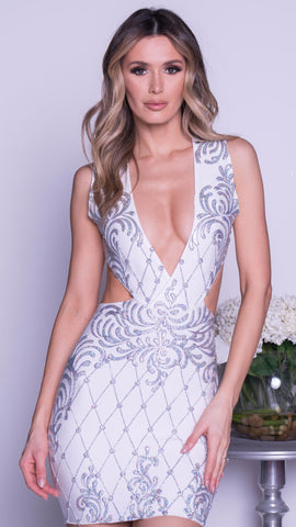 MAREA PAINTED BANDAGE DRESS IN WHITE WITH SILVER
