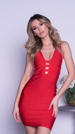 TODD BANDAGE DRESS IN RED