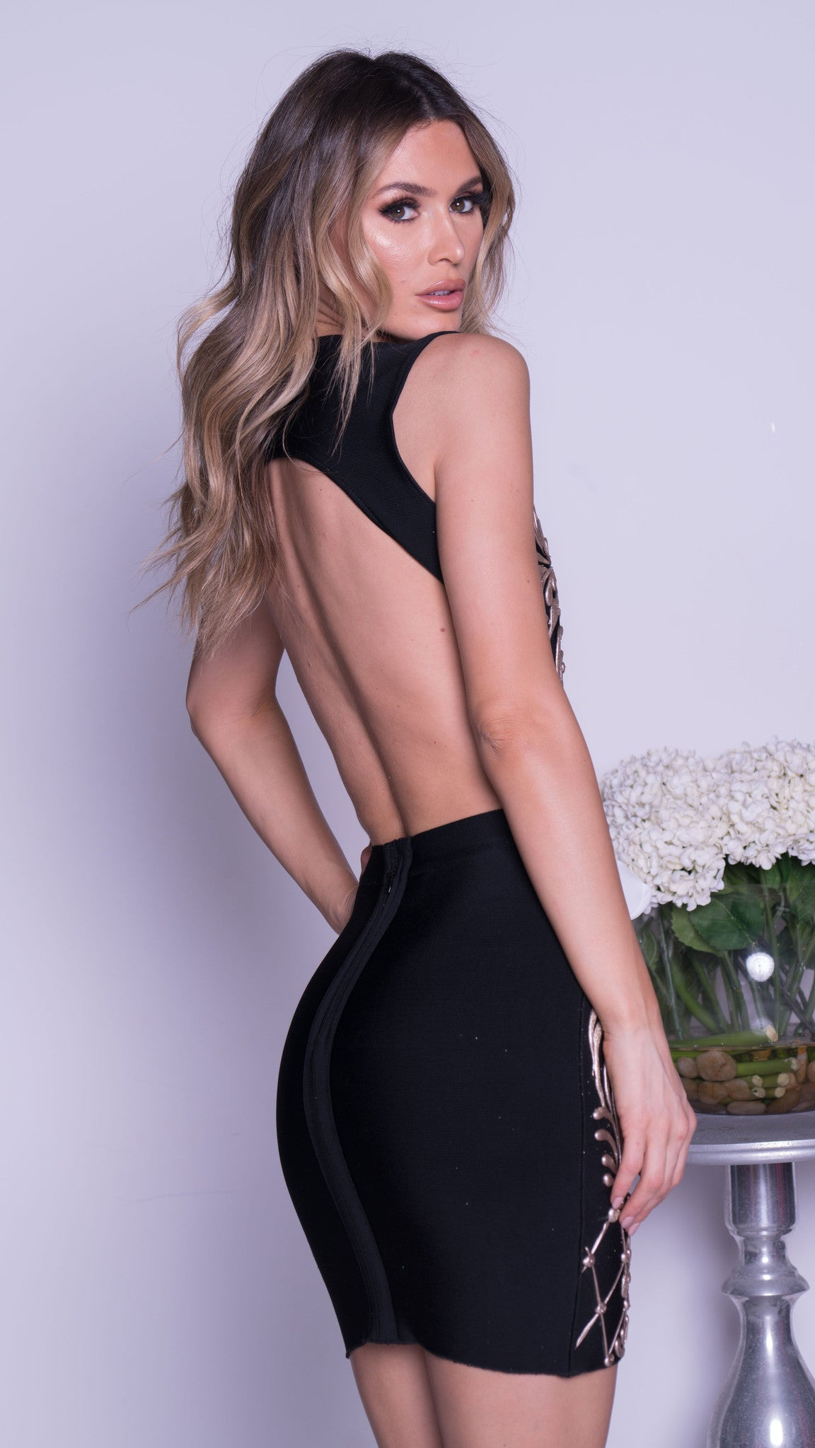 MAREA PAINTED BANDAGE DRESS IN BLACK WITH GOLD