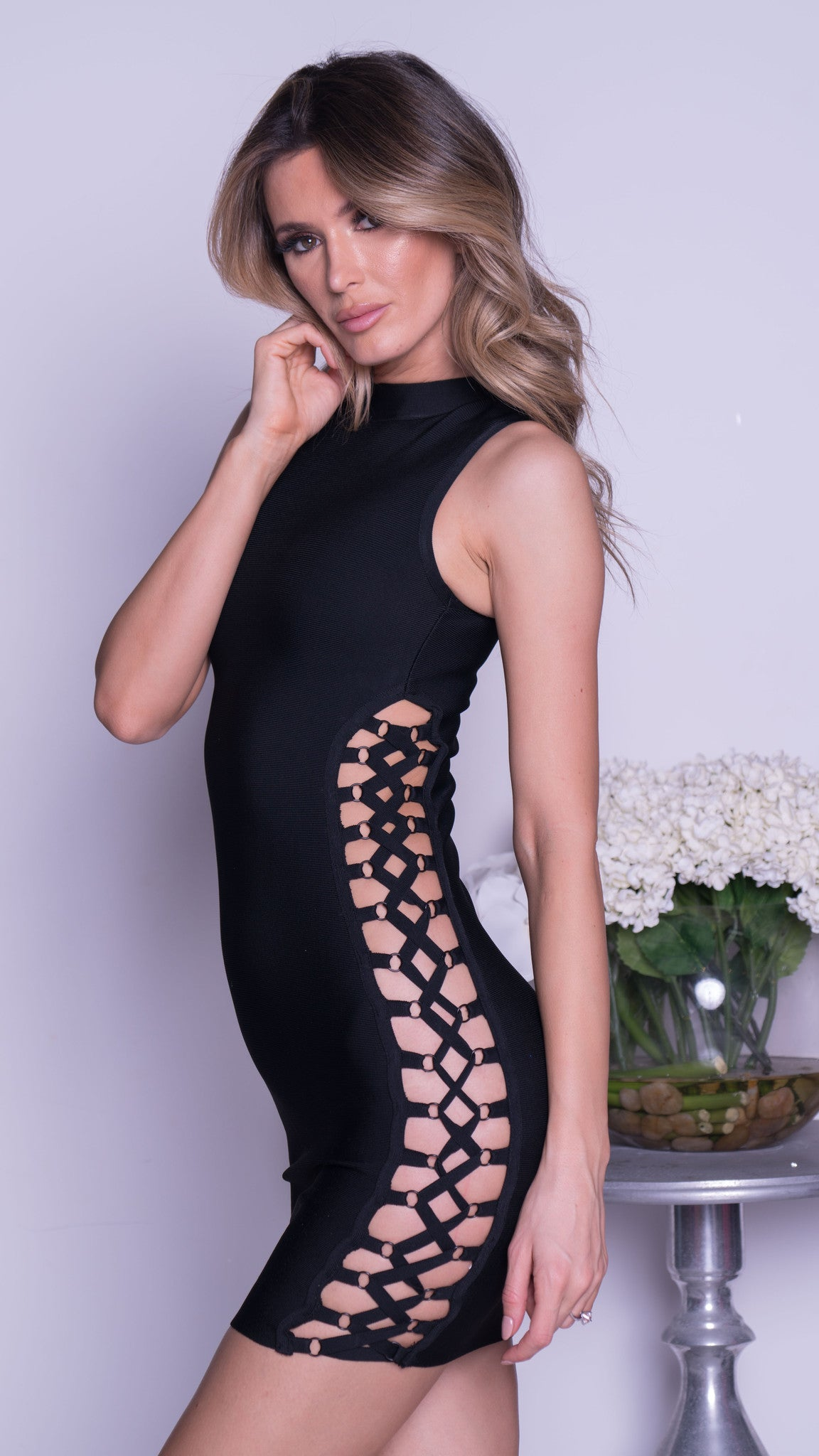 KENNEDY BANDAGE CUTOUT DRESS - 2 COLORS