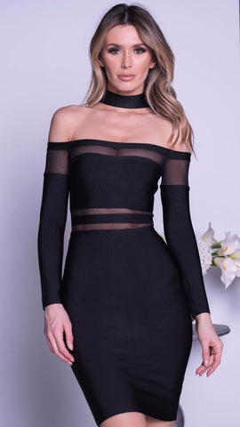 KORY BANDAGE DRESS IN BLACK