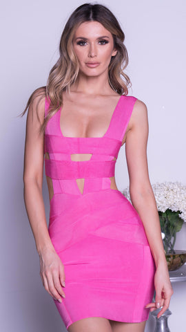 BELLUCI PAINTED BANDAGE DRESS IN HOT PINK