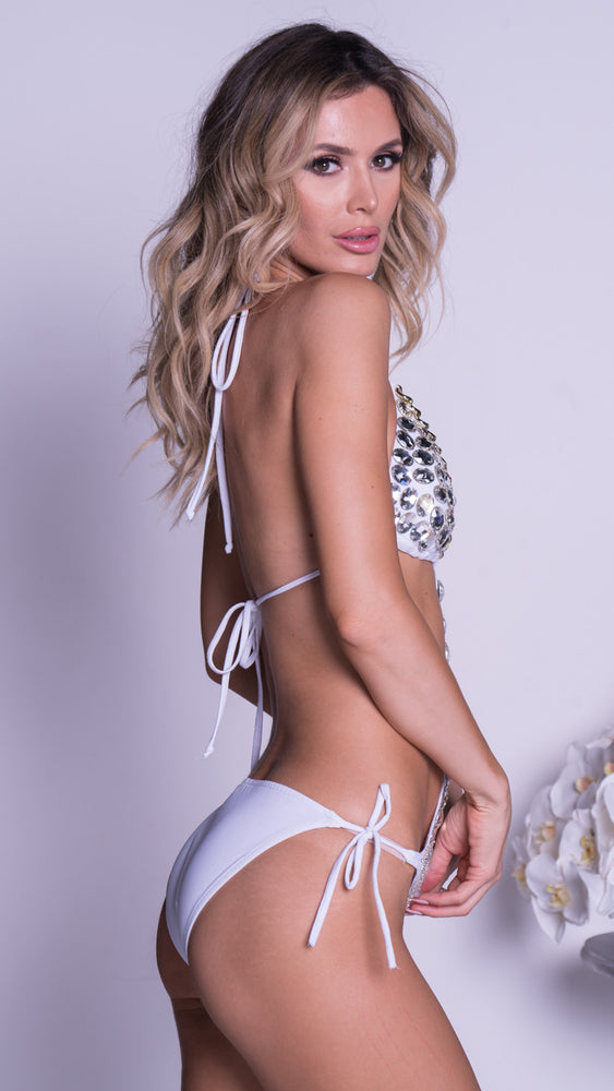 KAMILAI MONOKINI IN WHITE WITH CRYSTALS