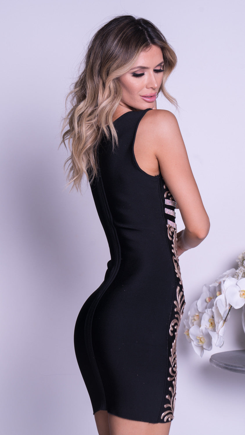 OLYA PAINTED BANDAGE DRESS IN BLACK WITH GOLD