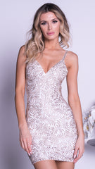 GADO PAINTED BANDAGE DRESS IN WHITE WITH GOLD