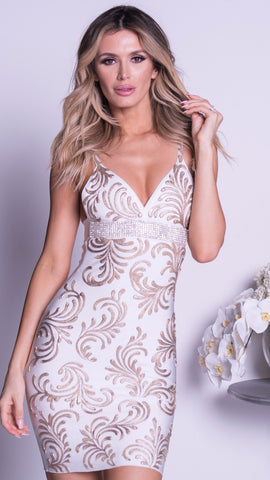 ZAHARA LACE DRESS IN WHITE WITH SILVER