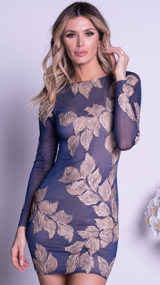 MILA DRESS IN NAVY WITH GOLD