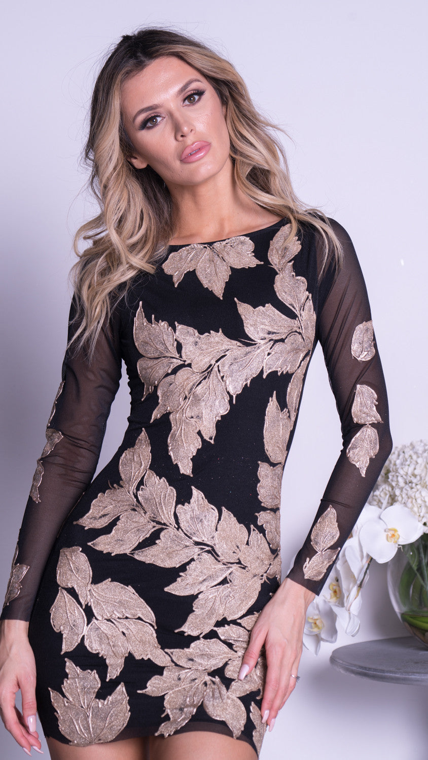MILA DRESS IN BLACK WITH GOLD