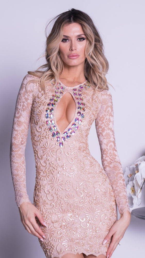 TIANEE LACE DRESS IN BEIGE WITH CRYSTALS