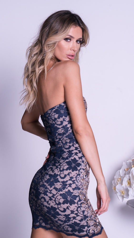 LINDA LACE DRESS IN NAVY WITH GOLD