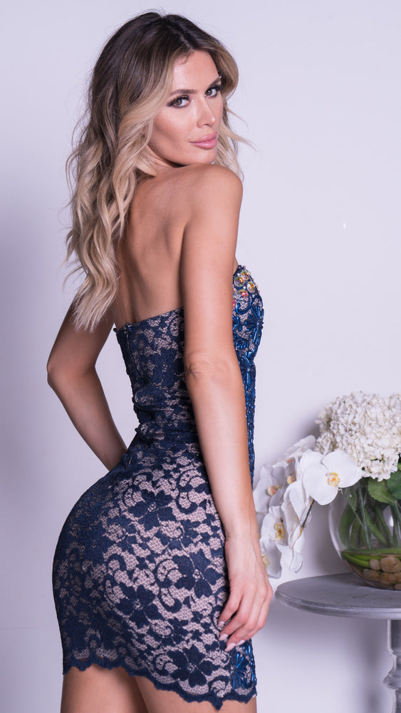 AMANDA LACE DRESS IN NAVY