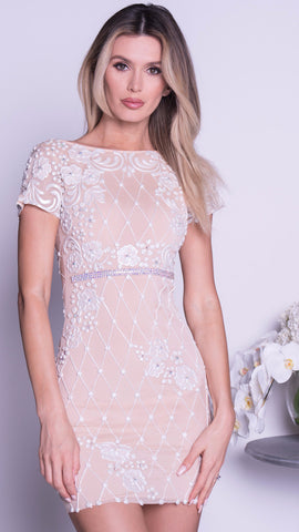 DOMA DRESS IN NUDE WITH PASTEL