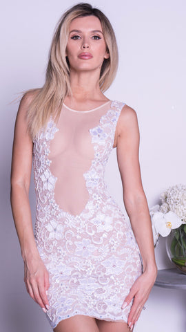 SHEERAN LACE DRESS IN WHITE