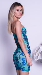SHAY DRESS IN JADE WITH BLUE