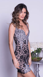 KORA LACE DRESS IN BLACK WITH SILVER