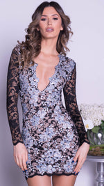 ARCADIA LACE DRESS IN BLACK WITH SILVER