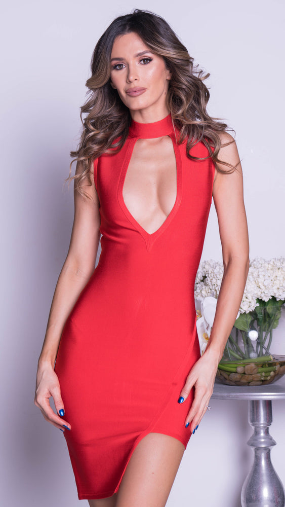 STELLA BANDAGE DRESS IN RED