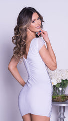 CAVANA DRESS IN WHITE WITH SILVER