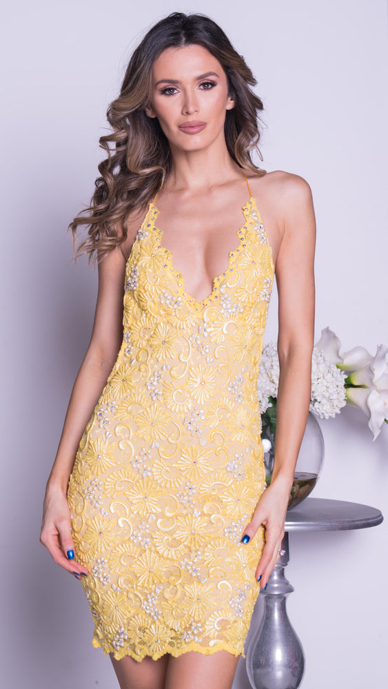 ANAIS LACE DRESS IN YELLOW