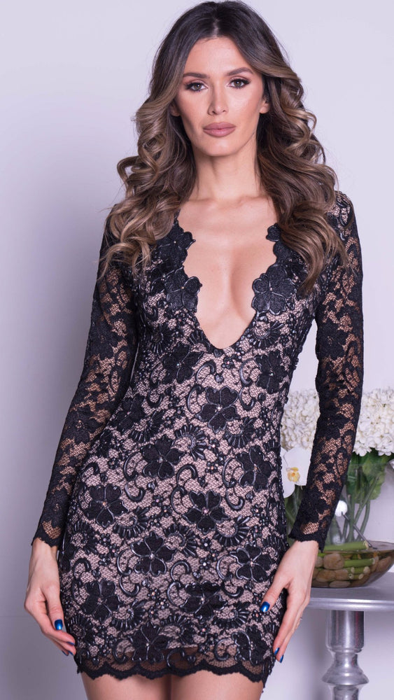 ELI DEEP V LACE DRESS IN BLACK - 15 COLORS