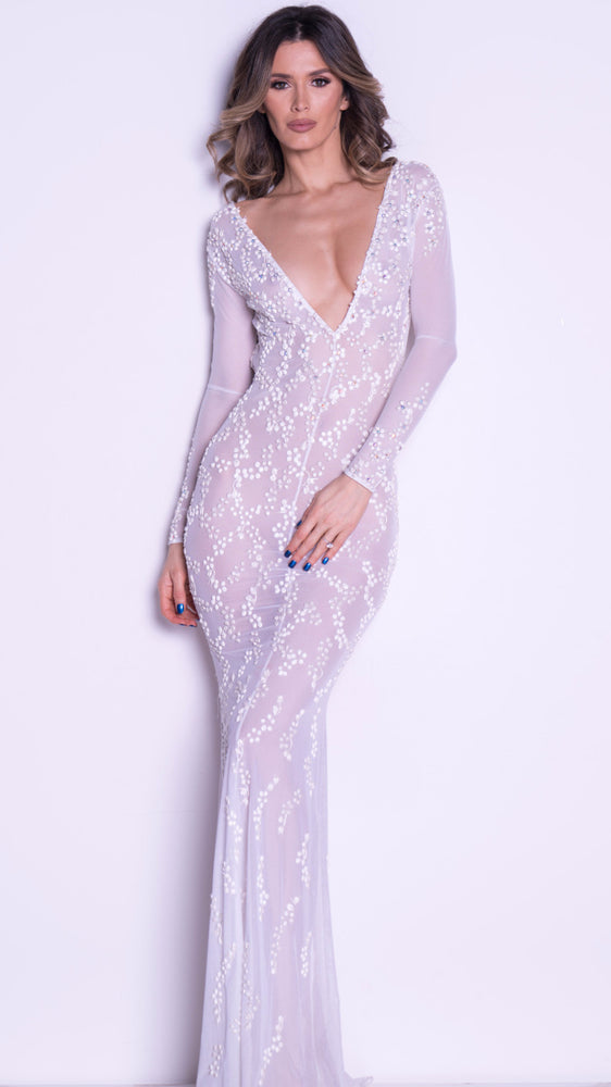 ALEXANDRA GOWN IN WHITE - OPEN BACK