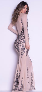 KATIE GOWN IN NUDE WITH BLACK