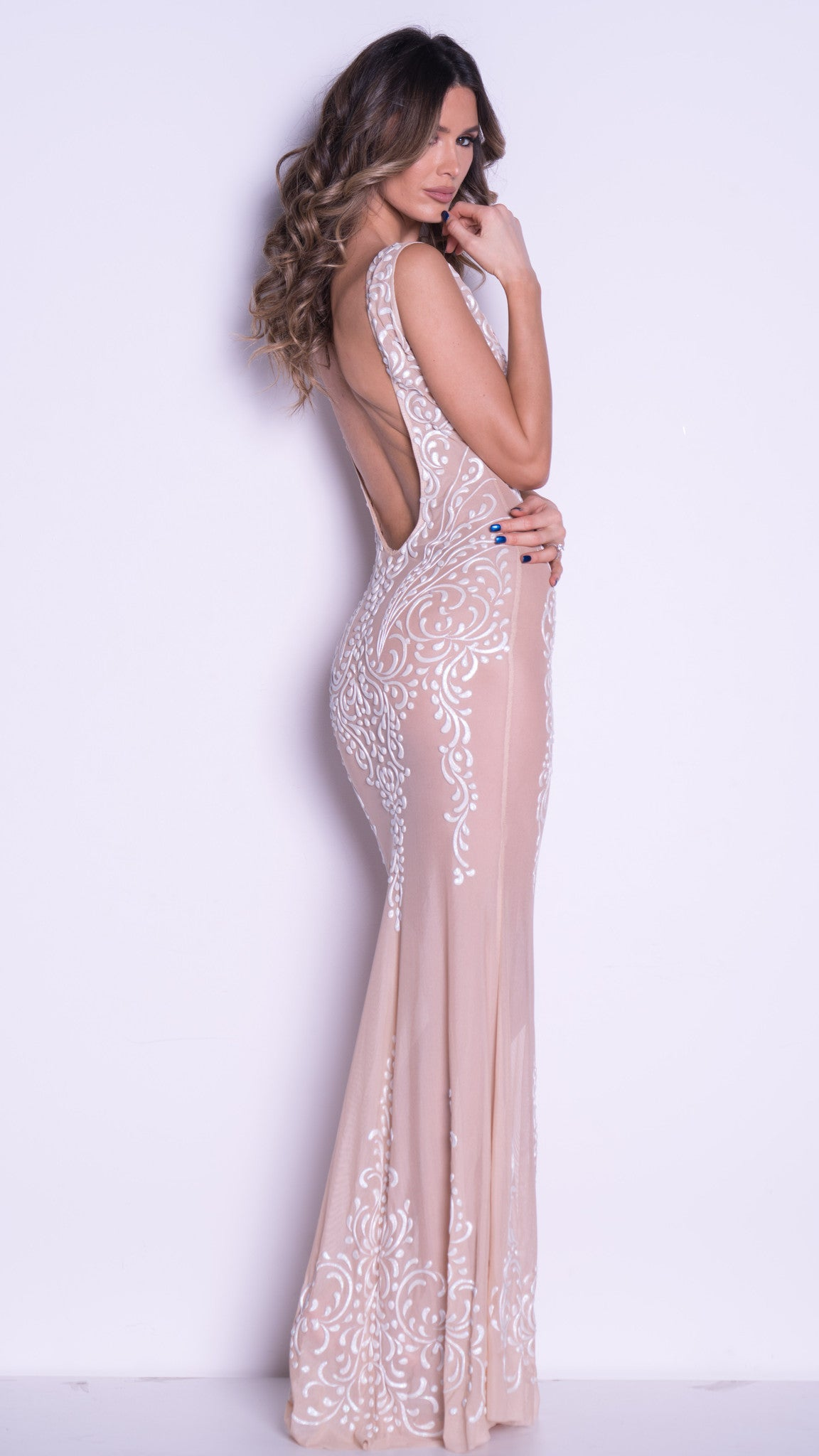 BARELY THERE GOWN IN NUDE WITH WHITE