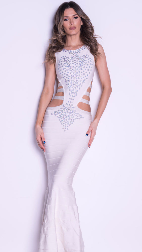 HELENA BANDAGE GOWN IN WHITE WITH SILVER