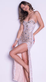 GALITE LACE GOWN IN WHITE WITH GOLD