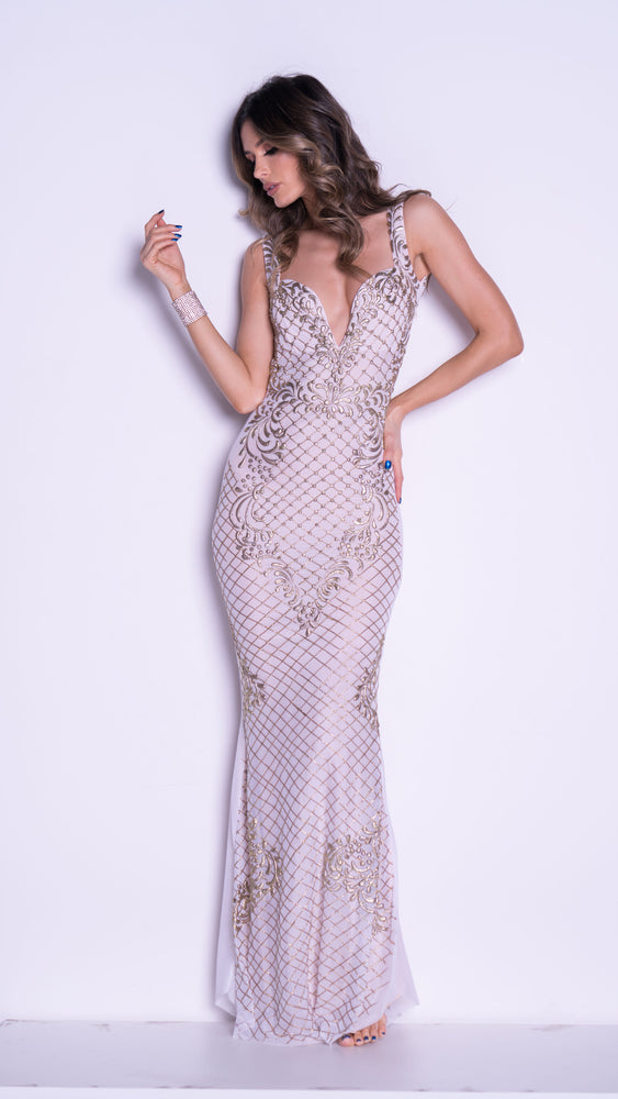 YOMARA GOWN IN WHITE WITH GOLD