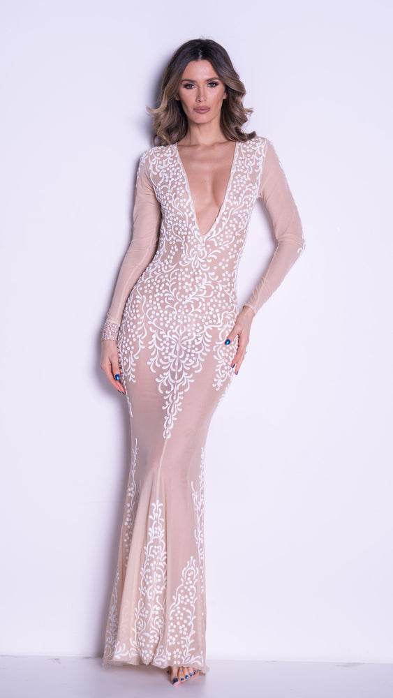 KATIE GOWN IN NUDE WITH WHITE