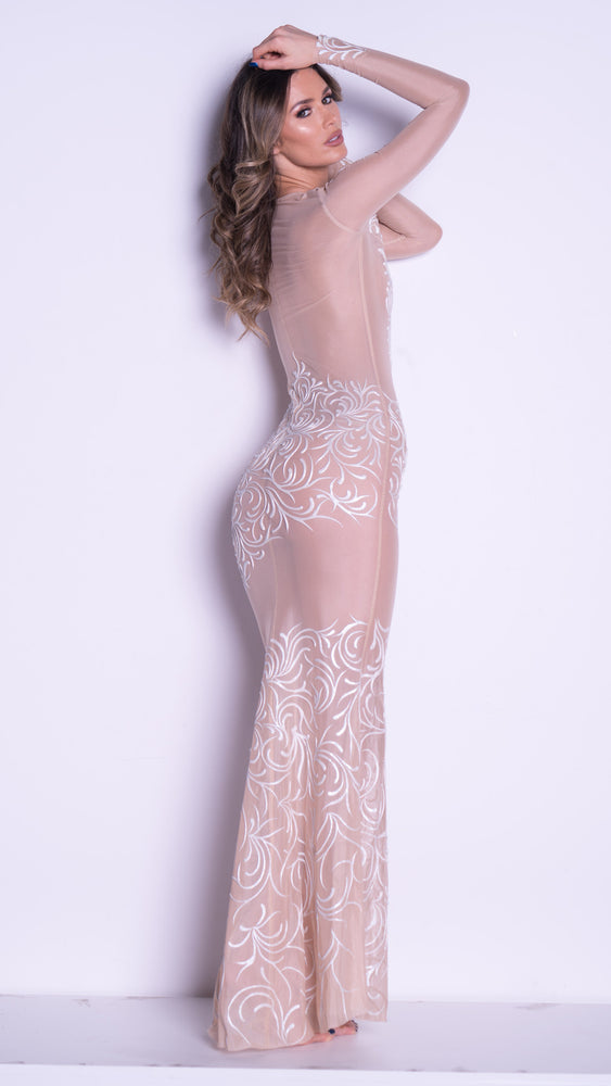 STANY GOWN IN NUDE WITH WHITE