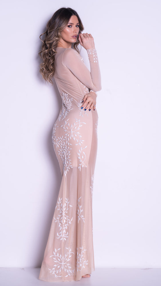 CLEMENCE GOWN IN NUDE WITH WHITE
