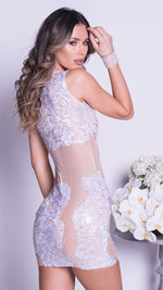MANA LACE IN NUDE WITH CRYSTALS