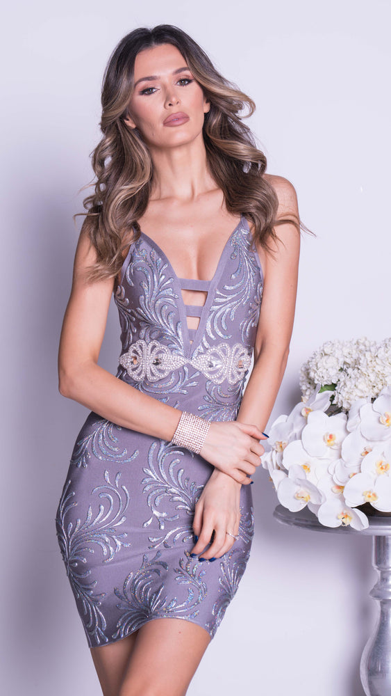 DENIRO PAINTED BANDAGE DRESS IN GREY