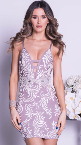 KIMBERLY BANDAGE DRESS IN WHITE WITH GOLD - 2 COLORS
