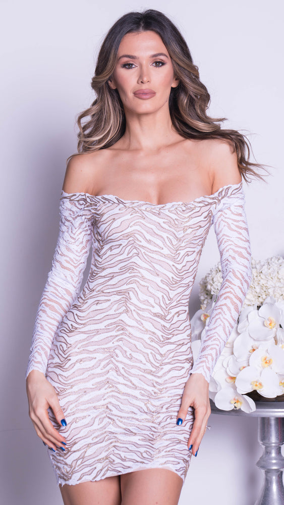 EDEN LACE DRESS IN WHITE WITH GOLD