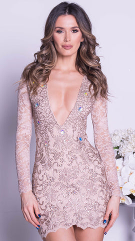 e7a9e71a99f ZAHARA LACE DRESS IN NUDE WITH GOLD