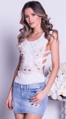 LIDY LACE DRESS IN WHITE WITH SILVER