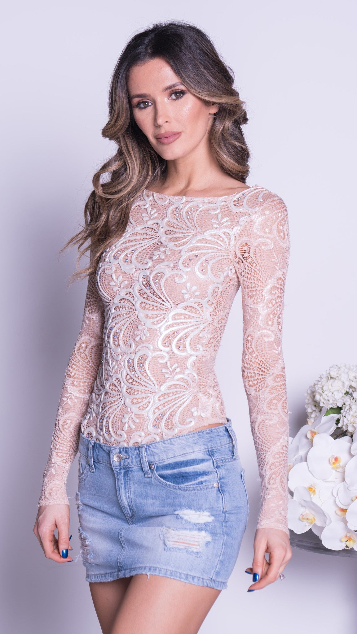 BELLISIMA LACE BODYSUIT IN NUDE