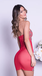 NIKITA DRESS IN RED WITH GOLD