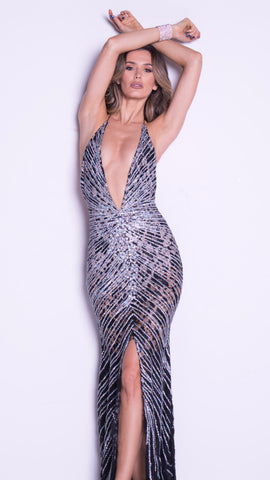 LARA LACE GOWN IN BLACK WITH SILVER