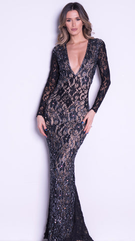 PAM GOWN IN BLACK LACE - 13 COLORS