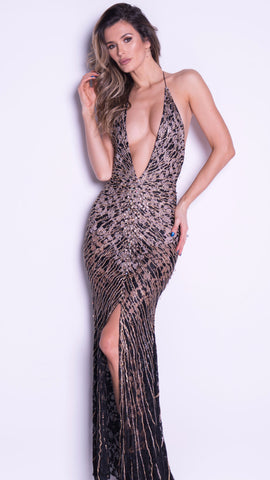 LARA LACE GOWN IN BLACK WITH GOLD