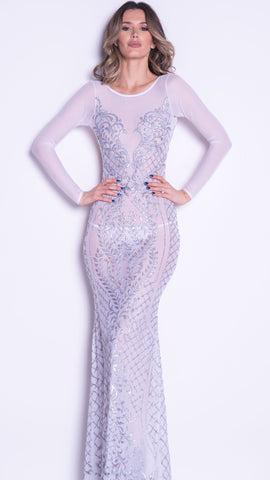 COBRA GOWN IN WHITE WITH SILVER