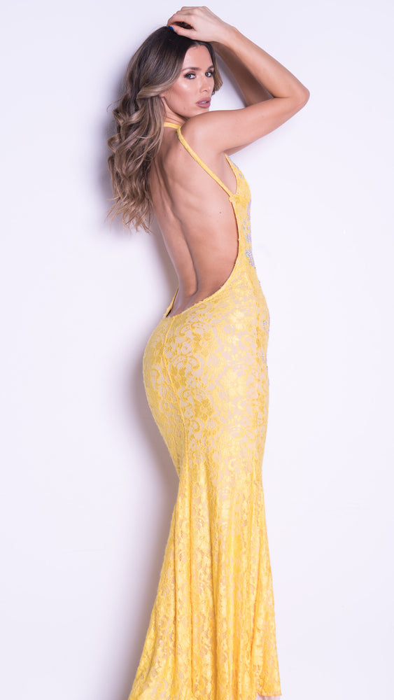 LIV GOWN IN YELLOW WITH CRYSTALS