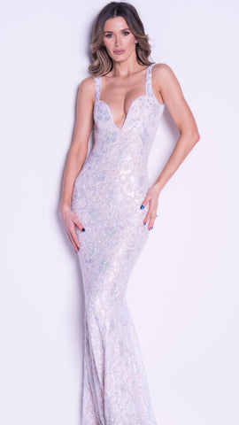 BRIE GOWN IN WHITE WITH CRYSTALS