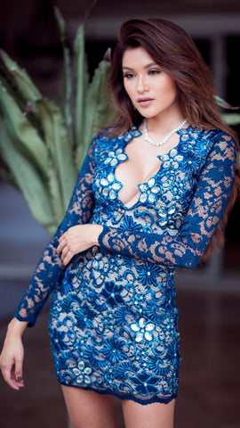 LIMITED EDITION ELI LACE DRESS IN NAVY