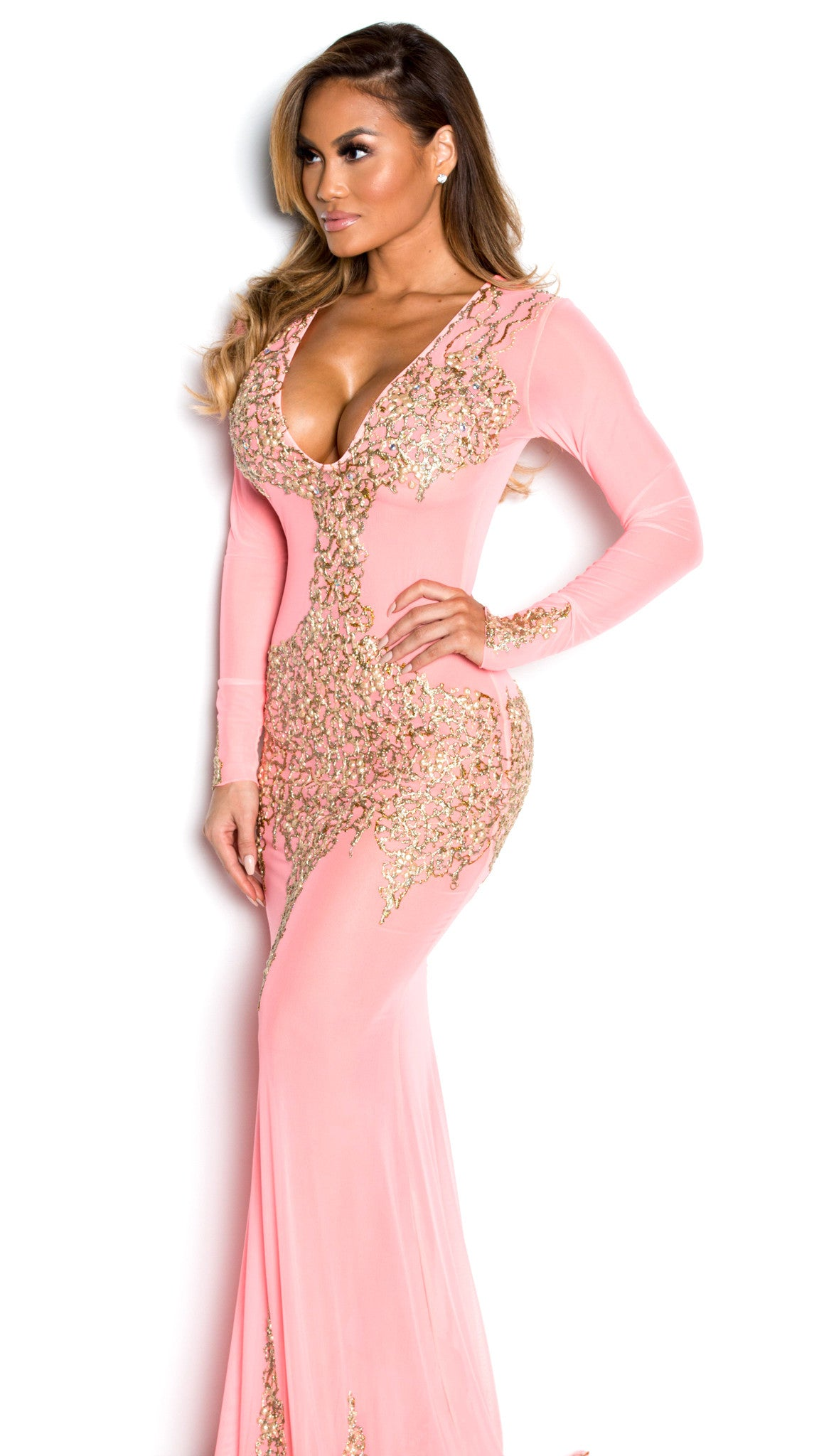 BEYONCE GOWN IN PINK WITH GOLD - HOLT